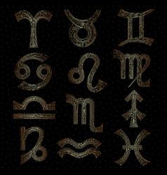 zodiac signs collection horoscope golden series vector image