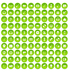 100 show business icons set green circle vector