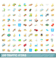 100 traffic icons set cartoon style vector