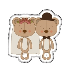 Teddy bear couple groom and bride icon image vector