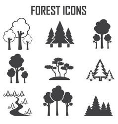forest icon set vector image
