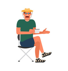 Resting man sitting on a folding chair in a t vector