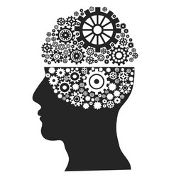 Head with gears vector