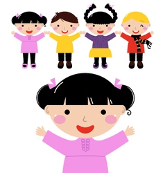Cute school kids in row holding hands vector