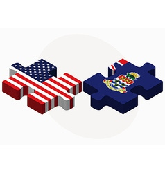 Usa and cayman islands flags in puzzle vector