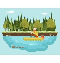 Fisherman with fishing rod in boat forest and vector