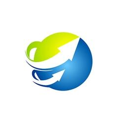 Globe arrow technology abstract logo vector