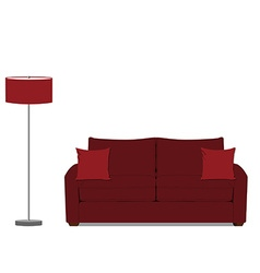 Sofa and floor lamp vector