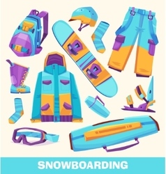 Snowboarding elements clothes and tools vector