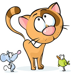 Cute animal - cat mouse and bird cartoon vector