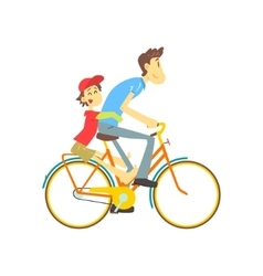 Father and son on bicycle vector
