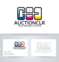 Auction color logo vector