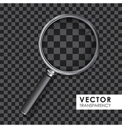 Magnifying glass transparency on checkered black vector