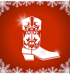 American christmas card with cowboy boot on red vector image vector image