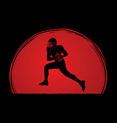 american football player running graphic vector image vector image