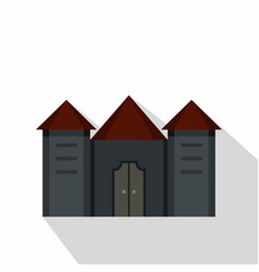 ancient fortress icon flat style vector image vector image