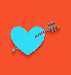 Arrow heart sign whitish icon on brick vector