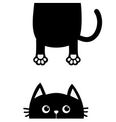 black cat funny face head silhouette looking up vector image vector image