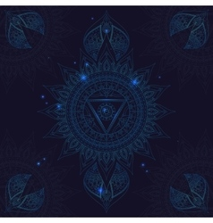 Chakra vishuddha on a dark blue background vector