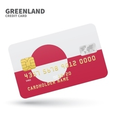 Credit card with greenland flag background for vector