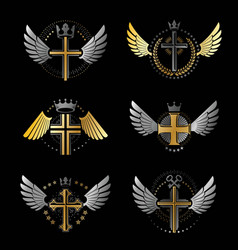crosses of christianity emblems set heraldic vector image vector image
