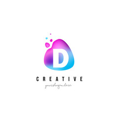 D letter dots logo design with oval shape vector
