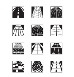 Different types of road surfaces vector