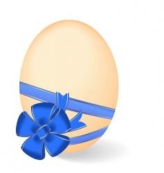 Easter egg with bow vector image vector image