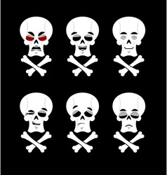 Emotions skull Set expressions avatar skeleton vector image