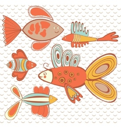 Exotic abstract fish pattern vector