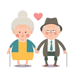 Happy old couple holding hands vector