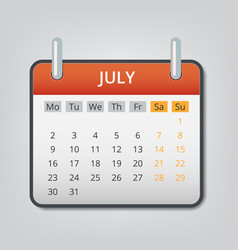 july 2018 calendar concept background cartoon vector image