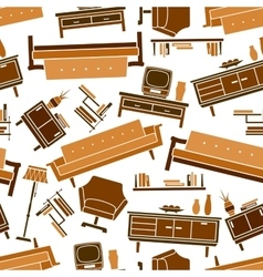 Living room flat furnitures seamless pattern vector image vector image