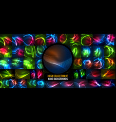 Mega collection of glowing waves energy concepts vector