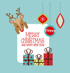 merry christmas and happy new year deer gifts vector image