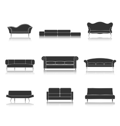 Modern luxury sofas and couches furniture icons vector image