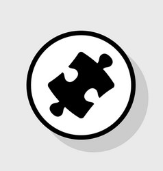 Puzzle piece sign flat black icon in vector