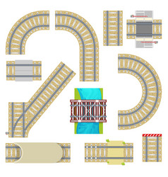 railway railroad tracks top view curvy road vector image