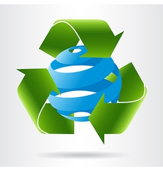 Recycle arrows and abstract blue sphere vector image