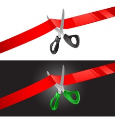 scissors and ribbon vector image vector image