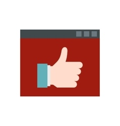 Screen with thumb up icon flat style vector image