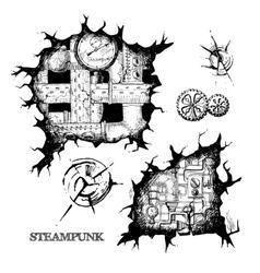 steampunk sketch holes vector image