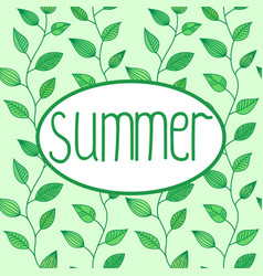 Summer sign in oval frame with leaves vector