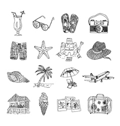 Summer vacation doodle sketch isons set vector image vector image