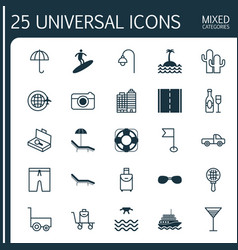 Tourism icons set collection of sea rescue vector
