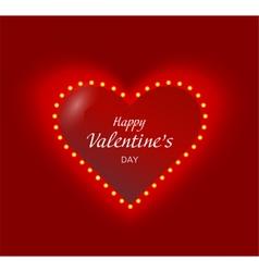 Valentine heart with lightbulbs garaland glowing vector image