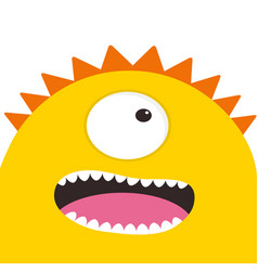 yellow monster head with one eye teeth tongue vector image