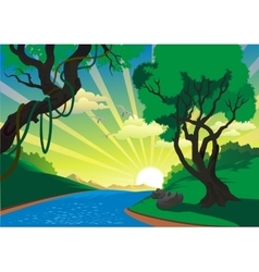 Landscape - the river in the vector image