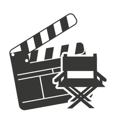 Clapperboard with cinema icon vector