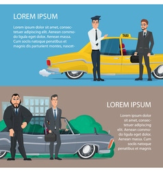 Businessmen get to work by car or taxi cartoon vector